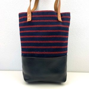 J. Crew Oar Stripe Canvas and Leather Tote Bag